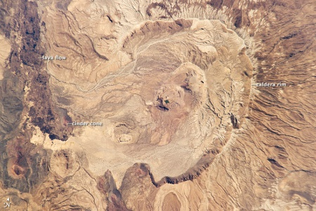 Astronaut photograph of Nabro caldera, 30 January 2011 (ISS/NASA)