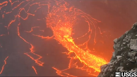 Halema'uma'u Crater lava lake, 2 June 2011: screen capture from Hawaiian Volcano Observatory video (USGS/HVO)