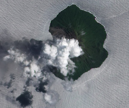 Recently-active Tinakula volcano in the Solomon Islands